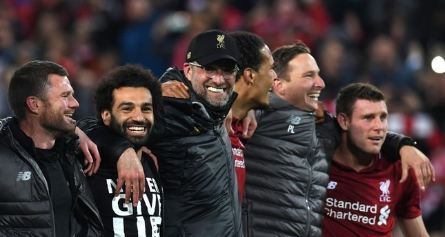 ليفربول يحتفل بفوزه على برشلونة (الفرنسية)