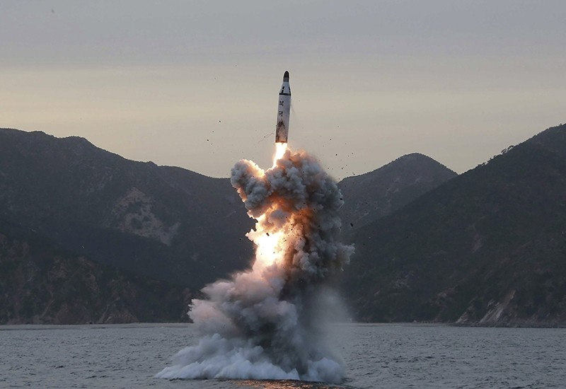 An undated file photo released on 24 April 2016 by North Korean Central News Agency (KCNA) shows an 'underwater test-fire of strategic submarine ballistic missile' conducted at an undisclosed location in North Korea (EPA Photo)