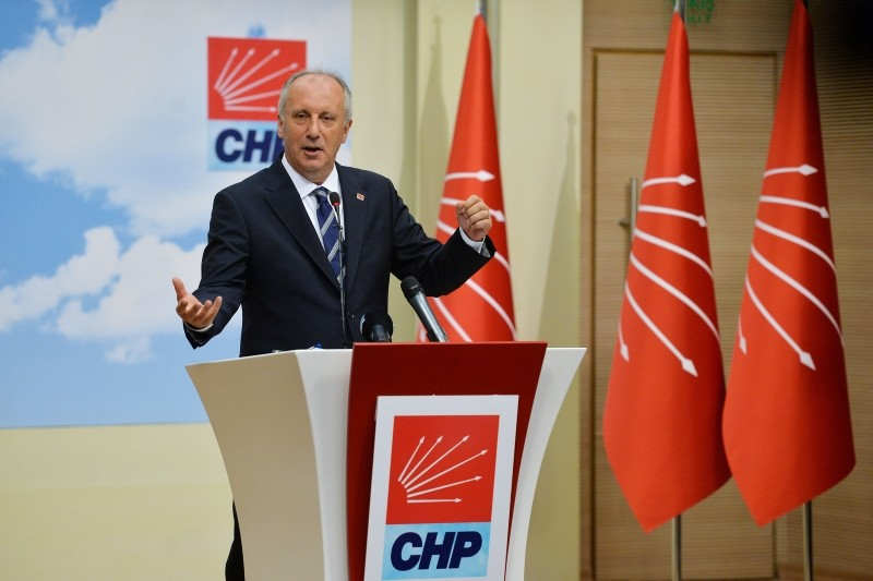 This file photo shows Republican People's Party's (CHP) presidential candidate Muharrem Ince holding a press conference at the CHP headquarters a day after June 24 elections. (Photo: Sabah / Ali Ekeyu0131lmaz)