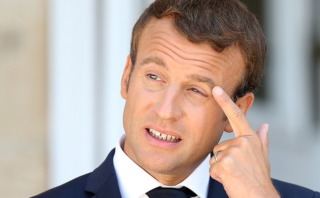 French President Emmanuel Macron reacts during a joint news conference with Bulgarian Prime Minister Boyko Borissov at Euxinograd residence, near Varna, Bulgaria, Aug. 25, 2017. (Reuters Photo)
