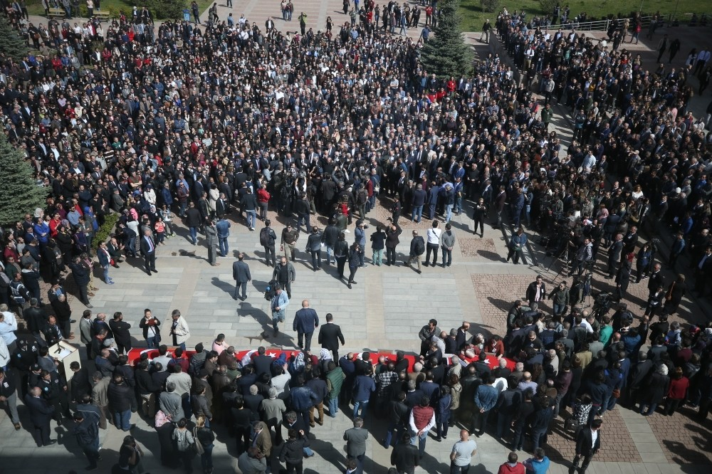 The funeral ceremony for the four shooting victims at Osmangazi University on Friday.