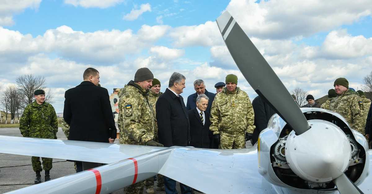 Ukraine's President Petro Poroshenko during the official delivery ceremony of the Bayraktar TB2 combat drones to the Ukrainian Armed Forces. (Photo courtesy of the Presidential Administration of Ukraine)
