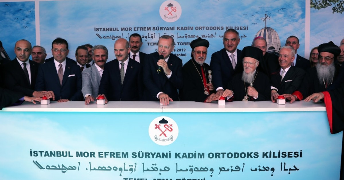 President Recep Tayyip Erdou011fan, Syriac Church clerics and dignitaries launch the construction of the Mor Ephrem Church in Istanbul, Aug.3, 2019.