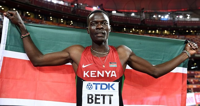 In this file photo taken on Aug. 25, 2015 Kenya's Nicholas Bett celebrates winning the final of the men's 400 metres hurdles athletics event at the 2015 IAAF World Championships at the Bird's Nest National Stadium in Beijing. (AFP Photo)