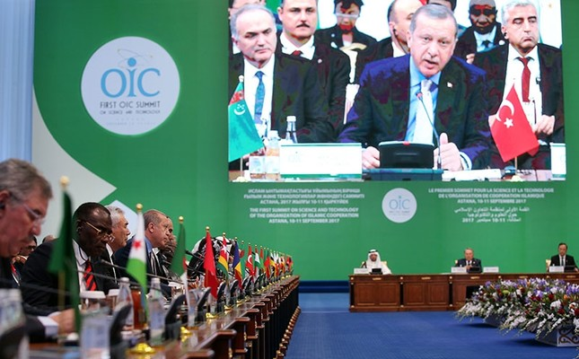 This file photo dated Nov. 9, 2017 shows President Recep Tayyip Erdoğan speaking during the 1st Science and Technology Summit of the Organization of Islamic Cooperation (OIC) in Astana, Kazakhstan. (AA Photo)