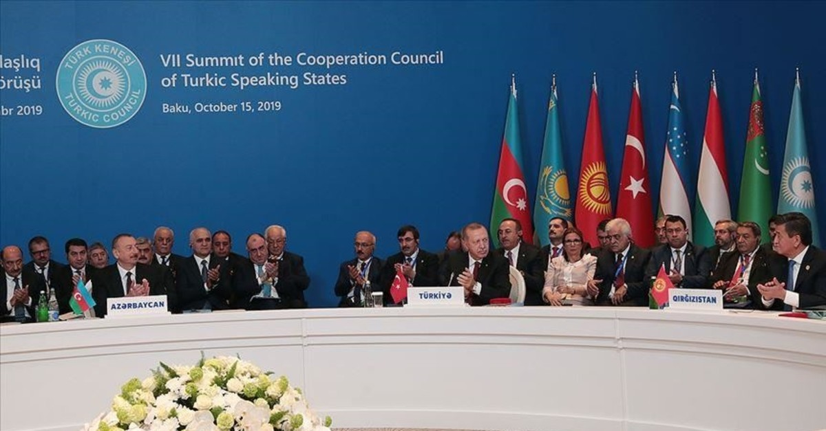 President Recep Tayyip Erdou011fan with world leaders during the summit of the Cooperation Council of Turkic Speaking States in Baku, Azerbaijan, Oct. 15, 2019.