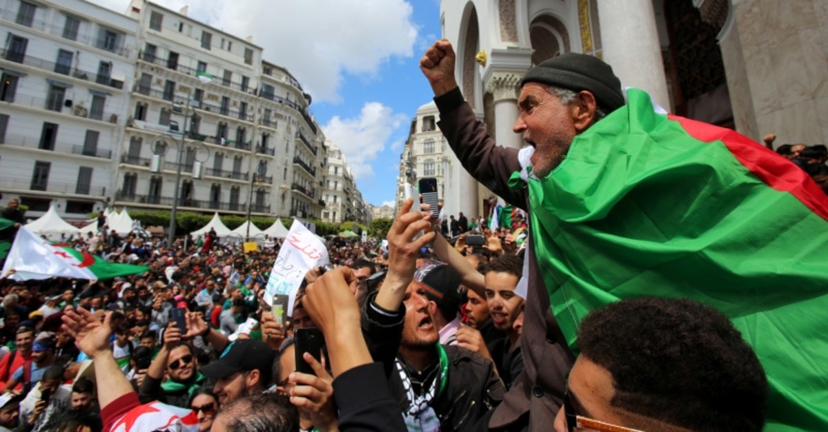 A man gestures during a protest against the appointment of interim president Abdelkader Bensalah demanding radical changes to the political system, in Algiers, Algeria April 10, 2019. (Reuters Photo)