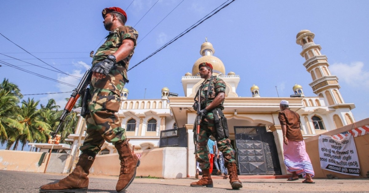 Sri Lankan military stand guard outside a mosque after clashes between two sectarian groups in a beachside resort in Poruthota village in Negombo, Sri Lanka May 6, 2019. (Reuters Photo)