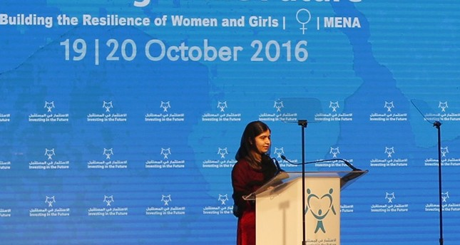 Pakistani activist for female education and Nobel Peace Prize laureate, Malala Yousafzai, delivers a speech during a conference (AFP Photo)