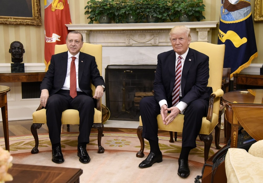 The meeting between presidents Recep Tayyip Erdou011fan and Donald Trump in the Oval Office at the White House in Washington, May 16.