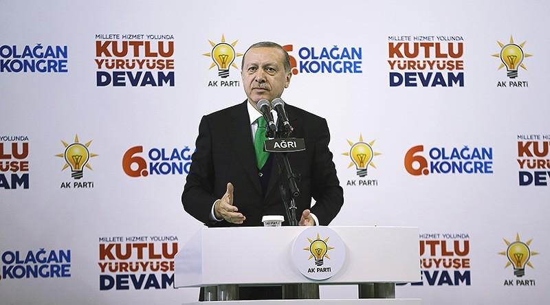 Turkey's President Recep Tayyip Erdou011fan speaking in Au011fru0131, Turkey on Dec. 3, 2017 (AA Photo)