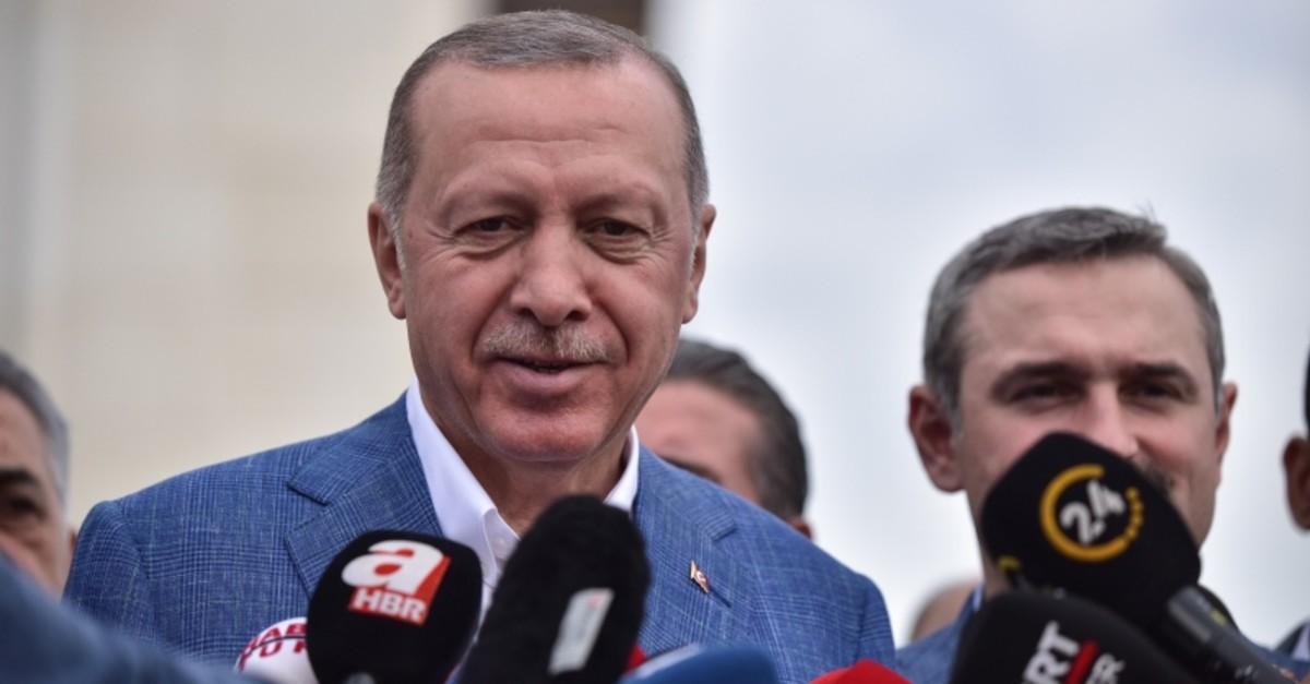 President Recep Tayyip Erdou011fan speaking to the reporters at u00c7amlu0131ca Mosque in Istanbul, Turkey, June 4, 2019. (DHA Photo)