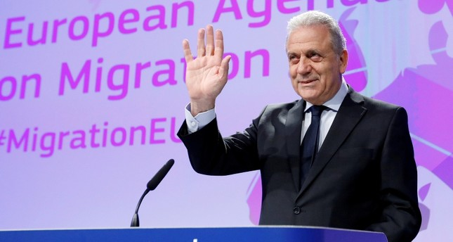 European Commissioner for Migration and Home Affairs Dimitris Avramopoulos addresses a news conference at the EU Commission headquarters in Brussels, Belgium, March 2,  2017. (REUTERS Photo)