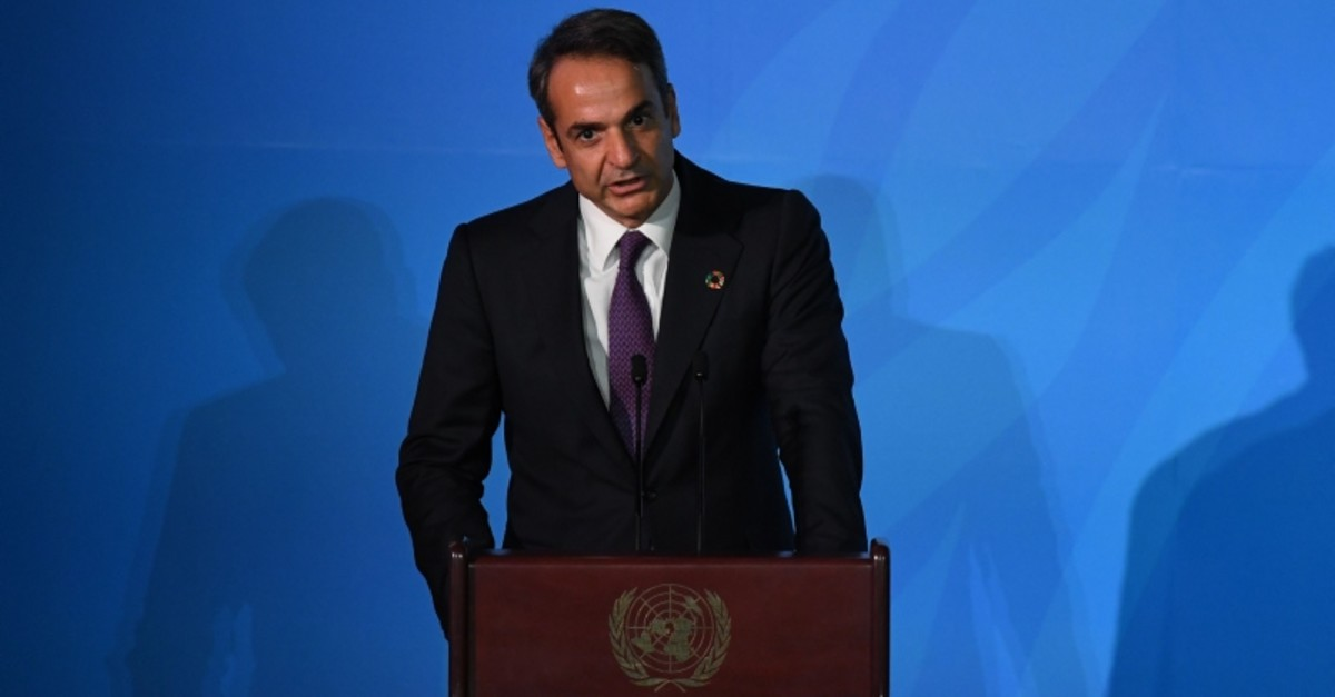 Greece Prime Minister Kyriakos Mitsotakis speaks during the Climate Action Summit 2019 in the United Nations General Assembly Hall September 23, 2019 (AFP Photo)