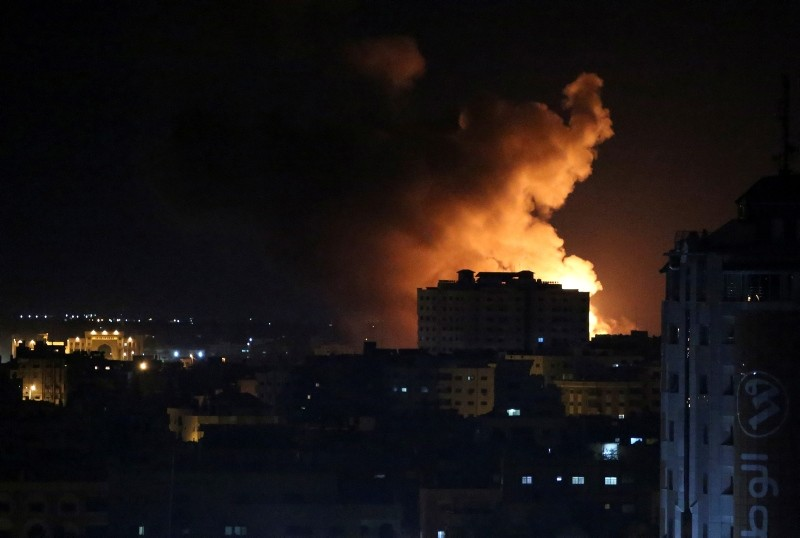 Smoke rises from an explosion caused by an Israeli airstrike on Gaza City, early Saturday, Oct. 27, 2018. (AP Photo)