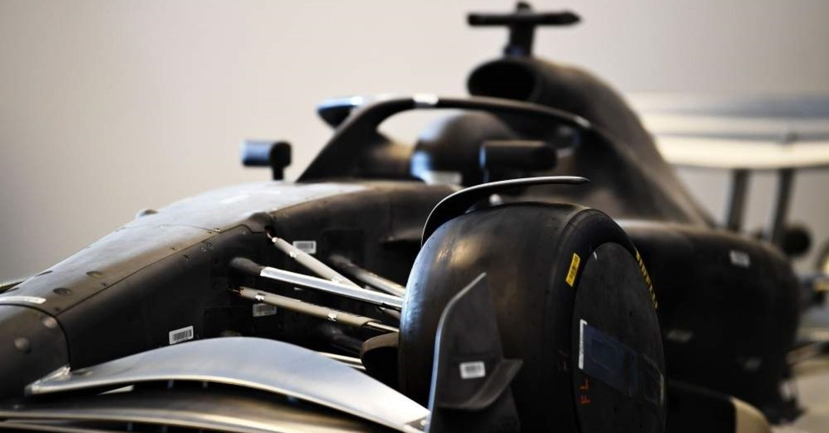 A mockup of a car is revealed in a press conference to announce the rules for the 2021 Formula One season during previews ahead of the F1 Grand Prix of USA at Circuit of The Americas on Oct. 31, 2019 in Austin, Texas. (AFP Photo)