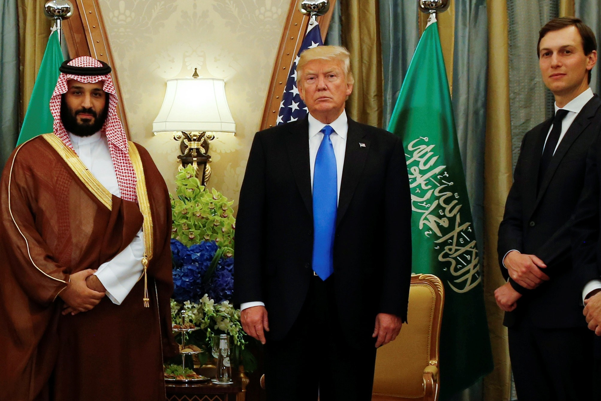 U.S. President Donald Trump (C), flanked by his senior adviser and son-in-law Jared Kushner (R), meets with Saudi Arabia's Crown Prince Mohammed bin Salman (L) at the Ritz Carlton hotel in Riyadh, Saudi Arabia, May 20, 2017.