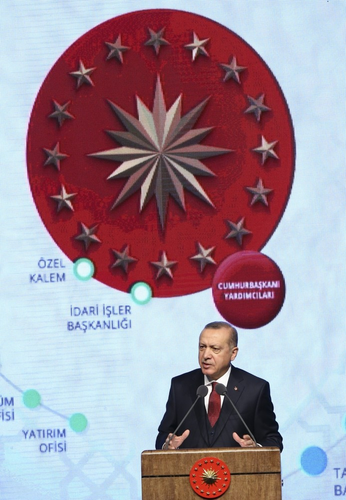 President Recep Tayyip Erdou011fan speaks at the launching ceremony of the second 1008day action plan at the Presidential Complex in Ankara yesterday.
