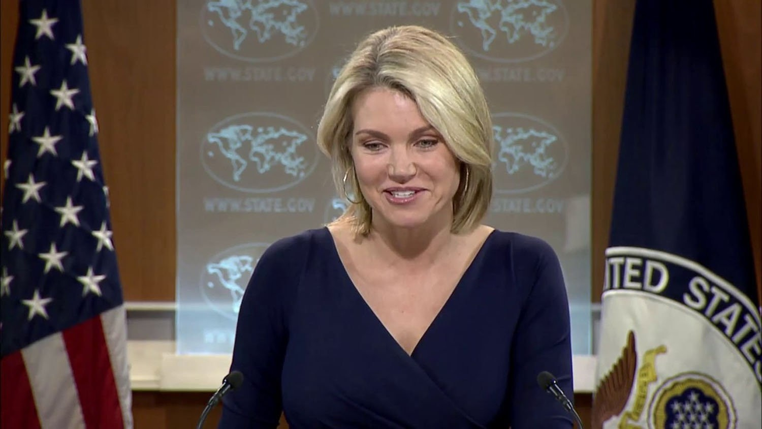 File photo shows U.S. State Department spokeswoman Heather Nauert speaking at a daily press briefing.