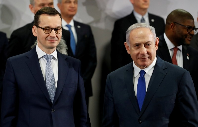Poland's Prime Minister Mateusz Morawiecki and Israel's Prime Minister Benjamin Netanyahu look on during the Middle East summit in Warsaw, Poland, February 14, 2019. (Reuters Photo)