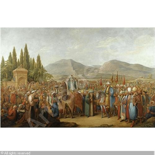u201cThe Arrival of the Mahmal at an Oasis en Route to Meccau201d by Georg Emanuel Opiz.