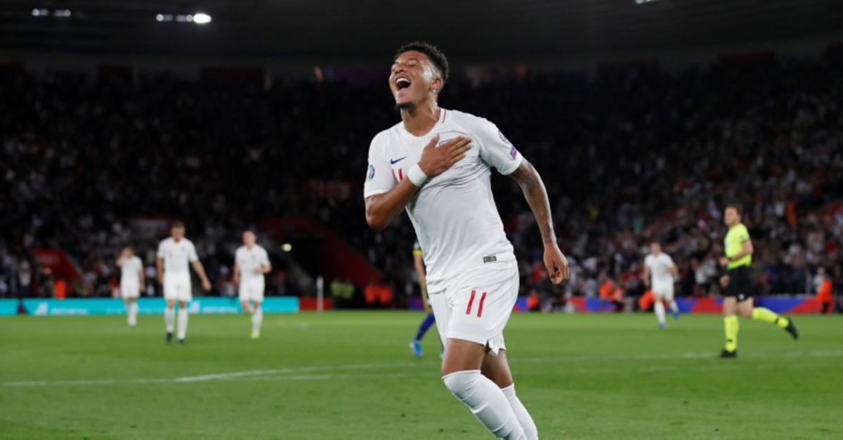 England's Jadon Sancho celebrates scoring his side's fourth goal of the game during the Euro 2020 group A qualifying football match between England and Kosovo at St Mary's Stadium in Southampton, England, Tuesday, Sept. 10, 2019. (Reuters Photo)