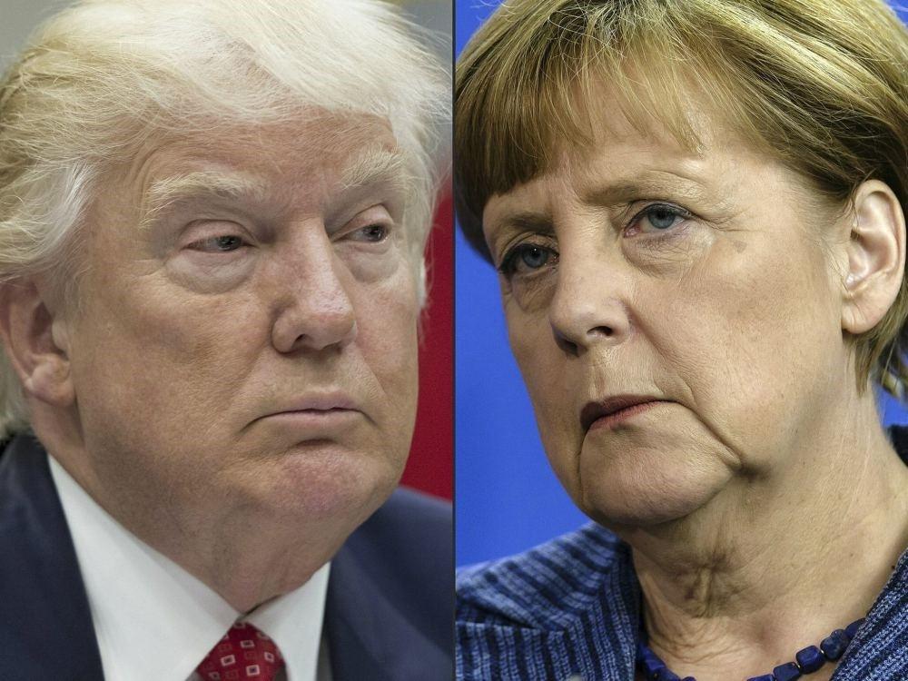 US President Donald Trump and German Chancellor Angela Merkel.