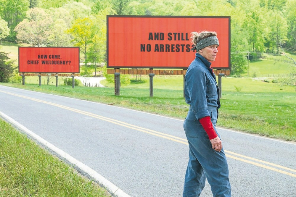 Image from the film ,Three Billboards Outside Ebbing, Missouri.,