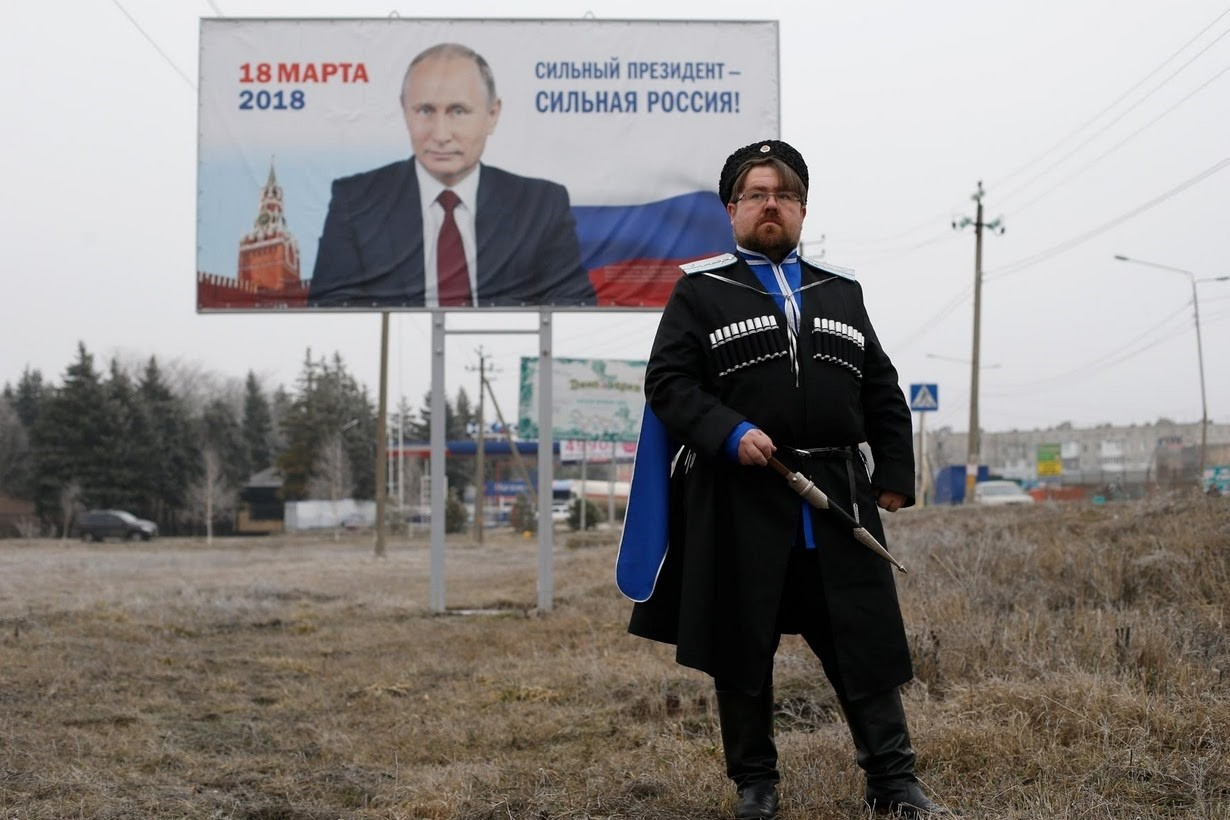 Andrei Vorontsov, 42, ataman of a local Cossack society and supporter of Putin, poses for a picture in Mikhaylovsk town in Stavropol Region, Russia, February 21, 2018. ,It's hard to say what the future will look like,, said Vorontsov. (Reuters Photo)