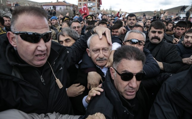 A group of protesters attacked Republican People's Party (CHP) Chairman Kemal Kılıçdaroğlu during a soldier's funeral in the Çubuk district of Ankara, April 21, 2019.