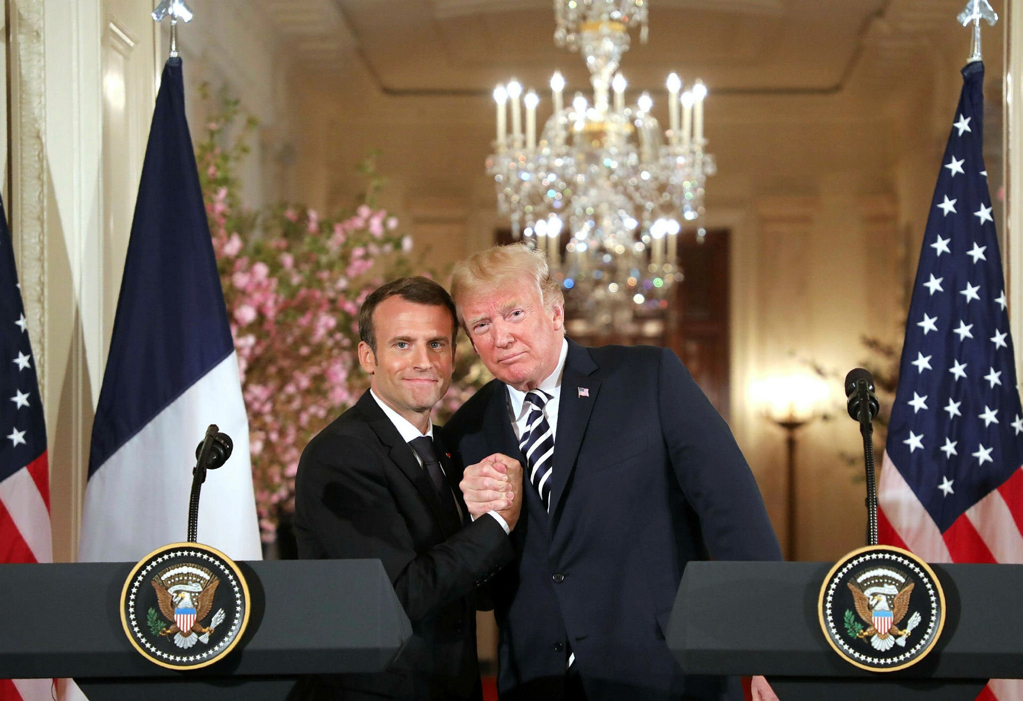U.S. President Donald Trump and French President Emmanuel Macron hold a joint press conference at the White House, Washington, April 24.