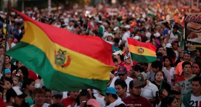 People take part in a protest against Bolivia's President Evo Morales and the election results, in Santa Cruz de la Sierra, Bolivia, Oct. 27, 2019. (REUTERS Photo)