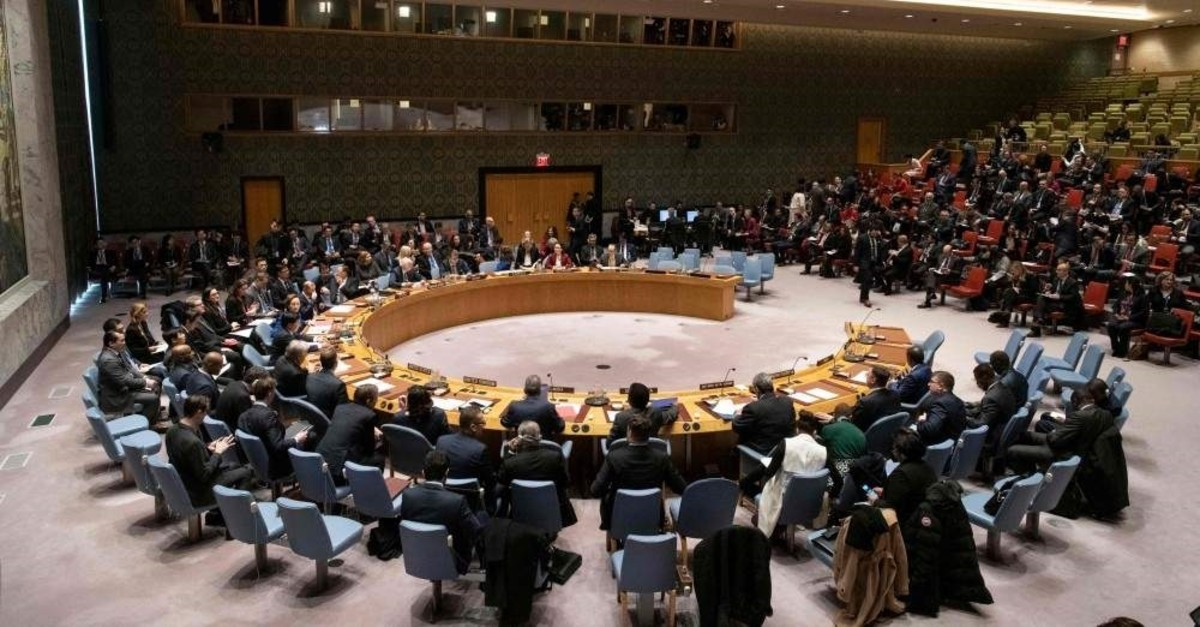 This January 9, 2020, image obtained from the U.N. shows a general view of the Security Council meeting on maintenance of international peace and security and upholding the U.N. Charter. (Photo by Mark GARTEN / UN / AFP)