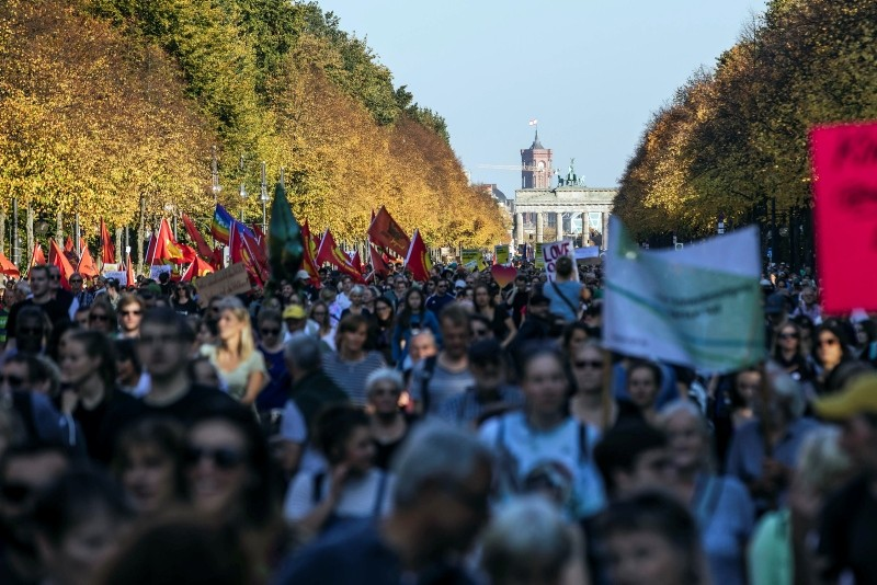 Diverse civil societies, celebrities and common citizens have called for a large scale demonstration on 13 October for a more open and free society. Organizers protested against right wing extremism and exclusion. (EPA Photo)
