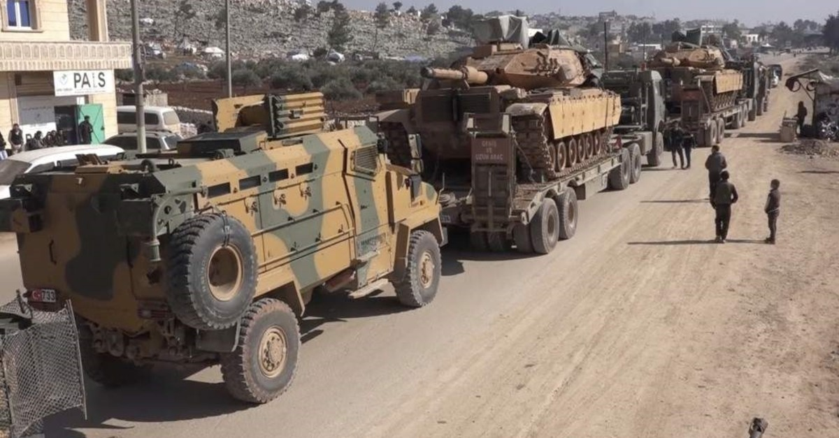 A Turkish Armed Forces (TSK) convoy is seen at the northern town of Sarmada, in Idlib province, Syria, Feb. 2, 2020. (AP Photo/APTN)