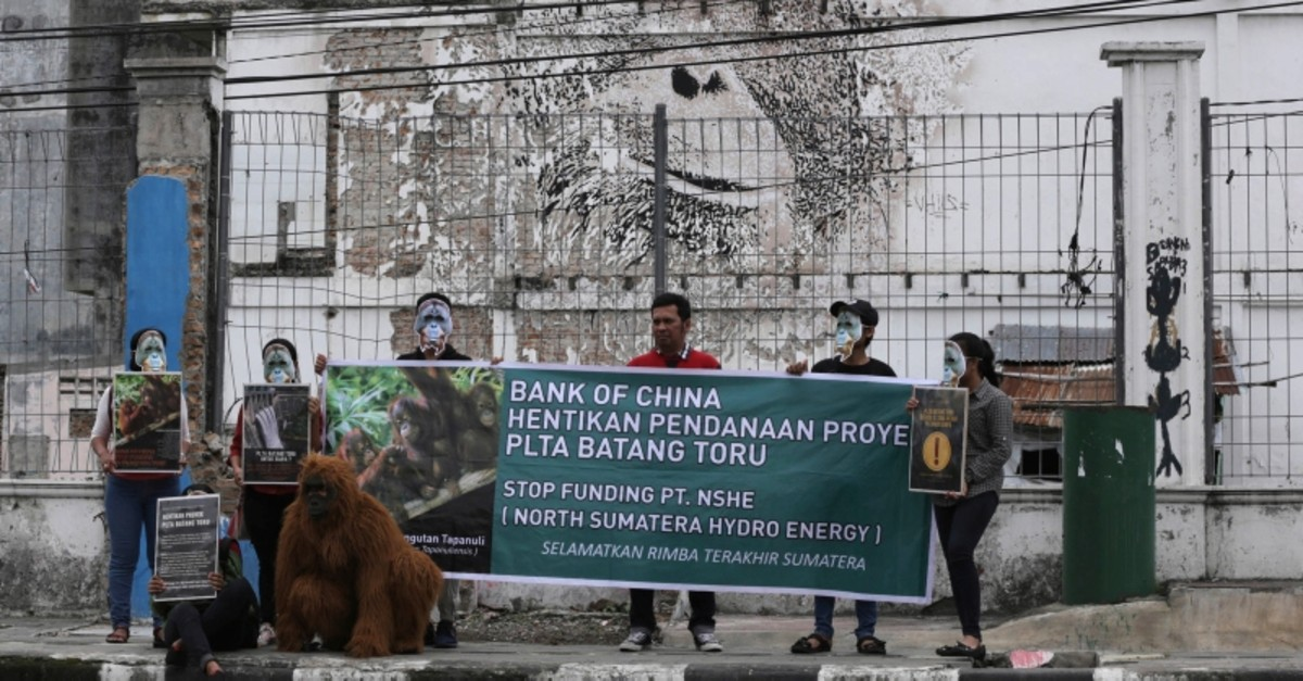 In this March 1, 2019, activists display posters during a protest against the construction of a Chinese-backed dam in the habitat of the most critically endangered orangutan species in Medan, North Sumatra, Indonesia. (AP Photo)