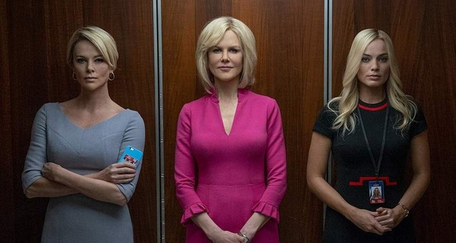 Bombshell features Charlize Theron R, Nicole Kidman M and Margot Robbie.