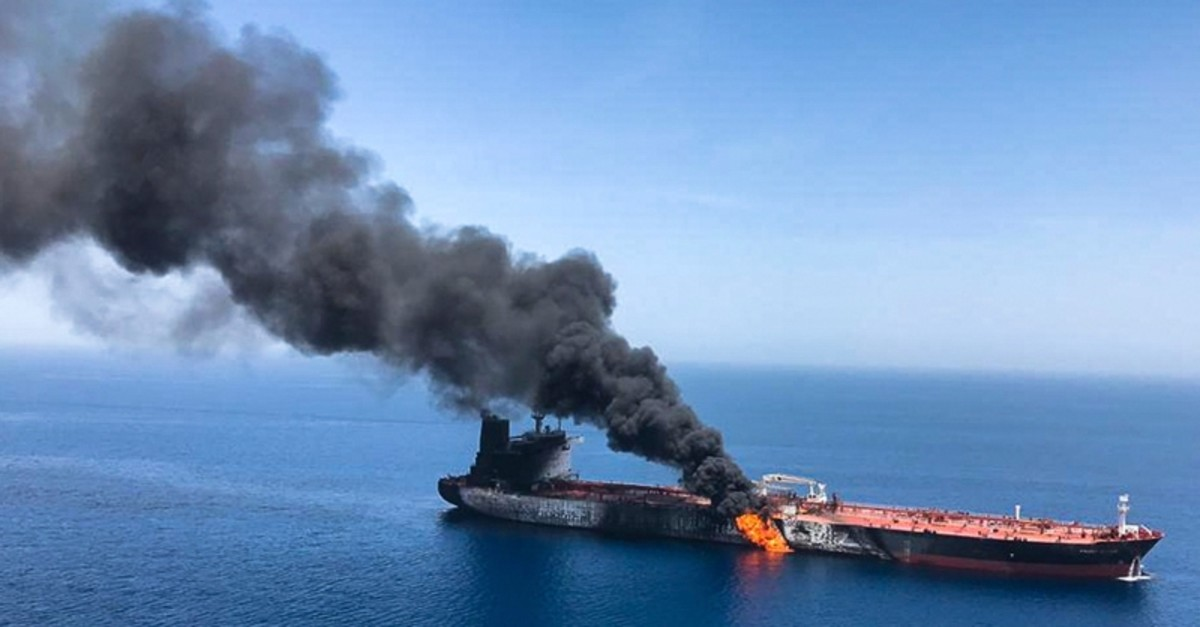 An oil tanker is on fire in the sea of Oman, Thursday, June 13, 2019. (AP Photo/ISNA)