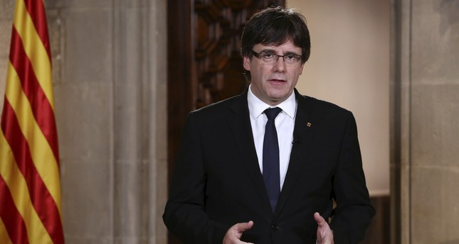 Catalonian President Carles Puigdemont giving a speech three days after the celebration of the Catalonian illegal referendum, at Palau de la Generalitat in Barcelona, Spain, Oct. 4 2017 EPA Photo