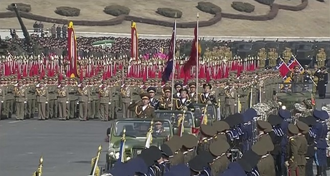 In this image made from video by North Korea's KRT, a military parade is held in Pyongyang, North Korea Thursday, Feb. 8, 2018. North Korea held the military parade and rally on Kim Il Sung Square (AP Photo)