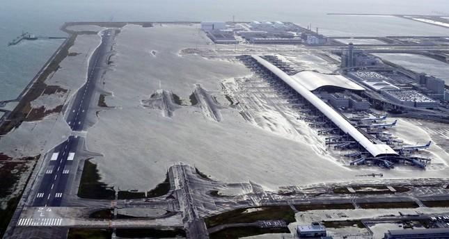 Kansai International Airport is partly inundated following a powerful typhoon in Izumisano, Osaka prefecture, western Japan, Tuesday, Sept. 4, 2018. (Kentaro Ikushima/Mainichi Newspaper via AP)