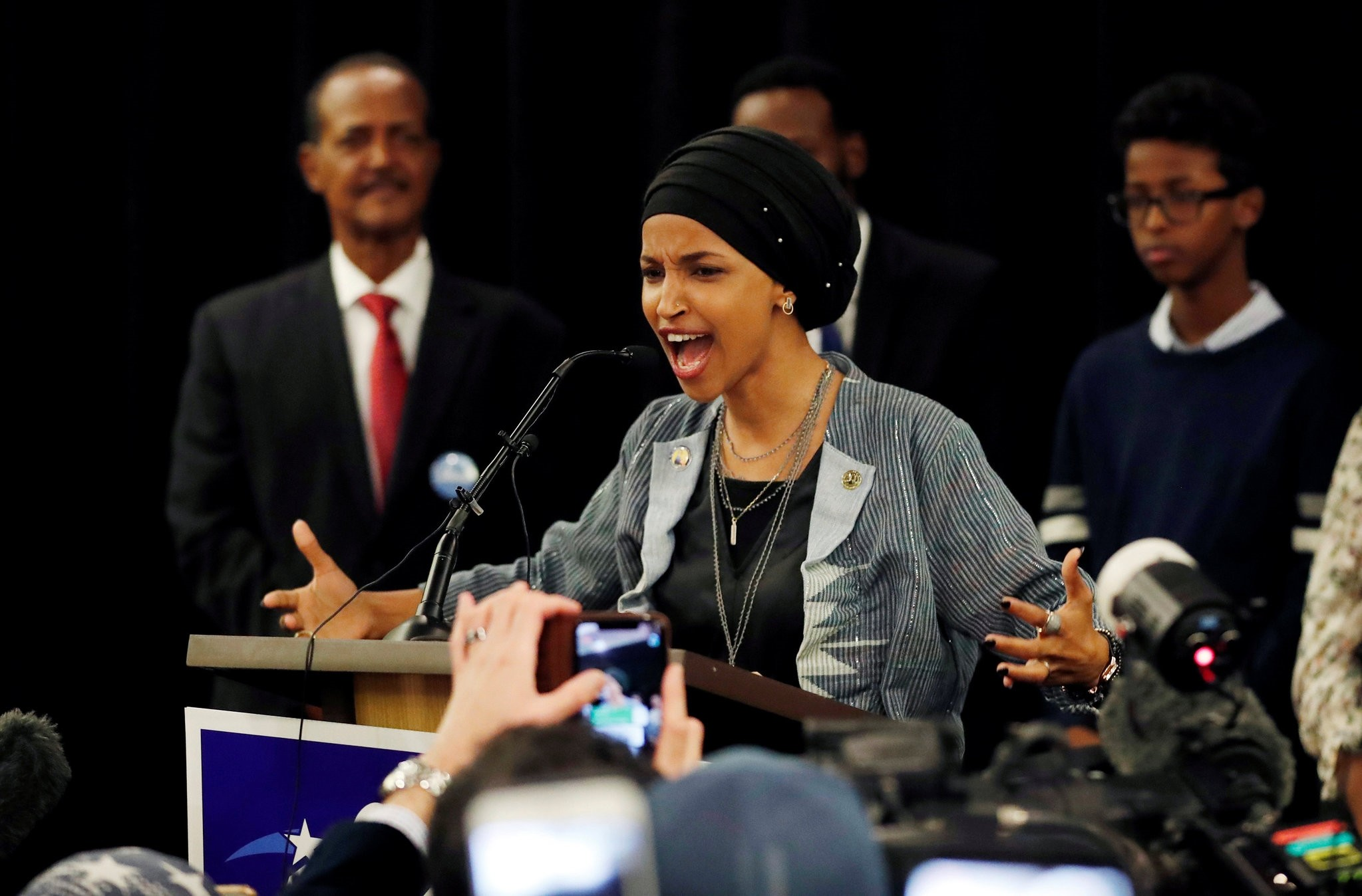 Democratic congressional candidate Ilhan Omar speaks at her midterm election night party in Minneapolis, Minnesota, Nov. 6.