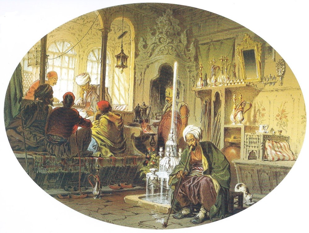 An illustration of a coffee house, where people would meet to drink tea or coffee and smoke hookah.