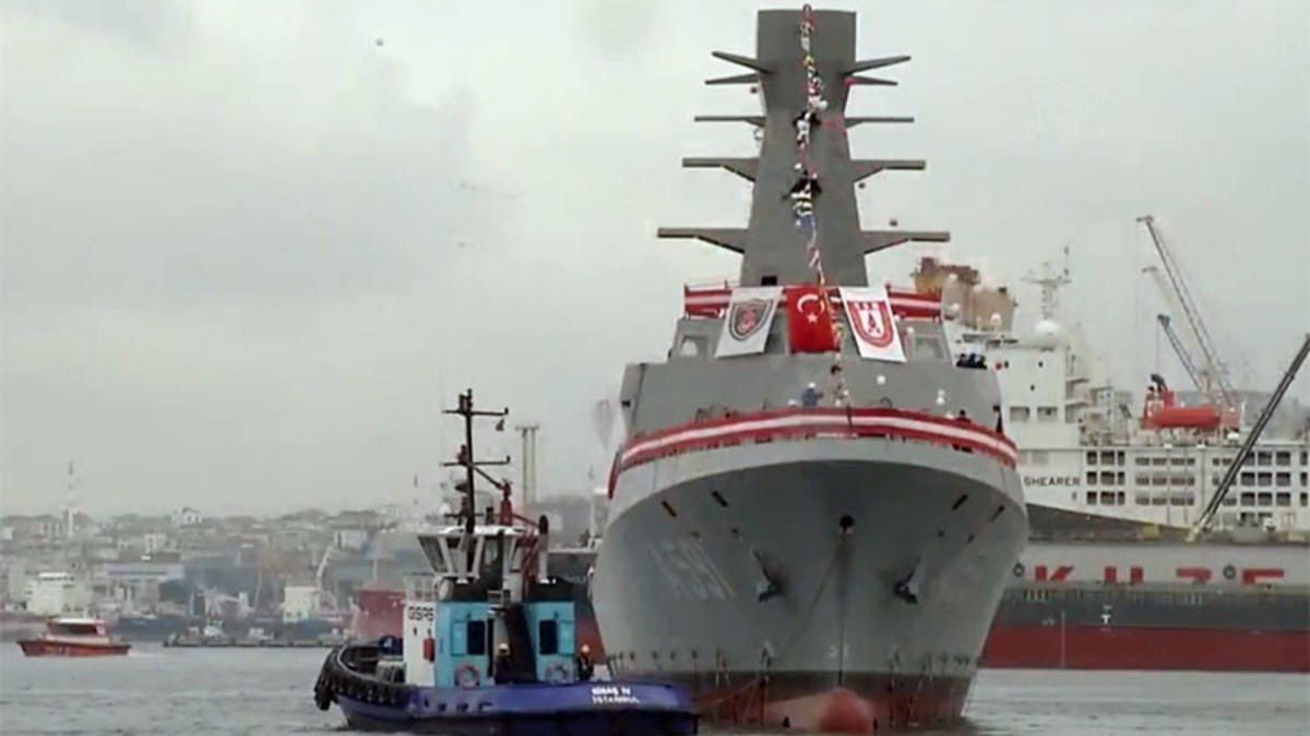 Turkeyu2019s latest corvette Ufuk, built as part of the national ship building program Mu0130LGEM, was launched Saturday with an official ceremony. The ship will carry out preventive intelligence operations in the seas surrounding Turkey.
