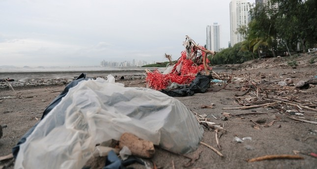Plastic waste pile and debris are seen up near the beach in Panama City, as Panama becomes the first country in Central America to ban all single-use plastic bags, in Panama July 19, 2019. Picture taken July 19, 2019.  (Reuters Photo)