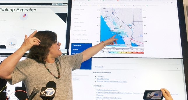 Seismologist Lucy Jones talks during a news conference at the Caltech Seismological Laboratory in Pasadena, Calif., Thursday, July 4, 2019. (AP Photo)
