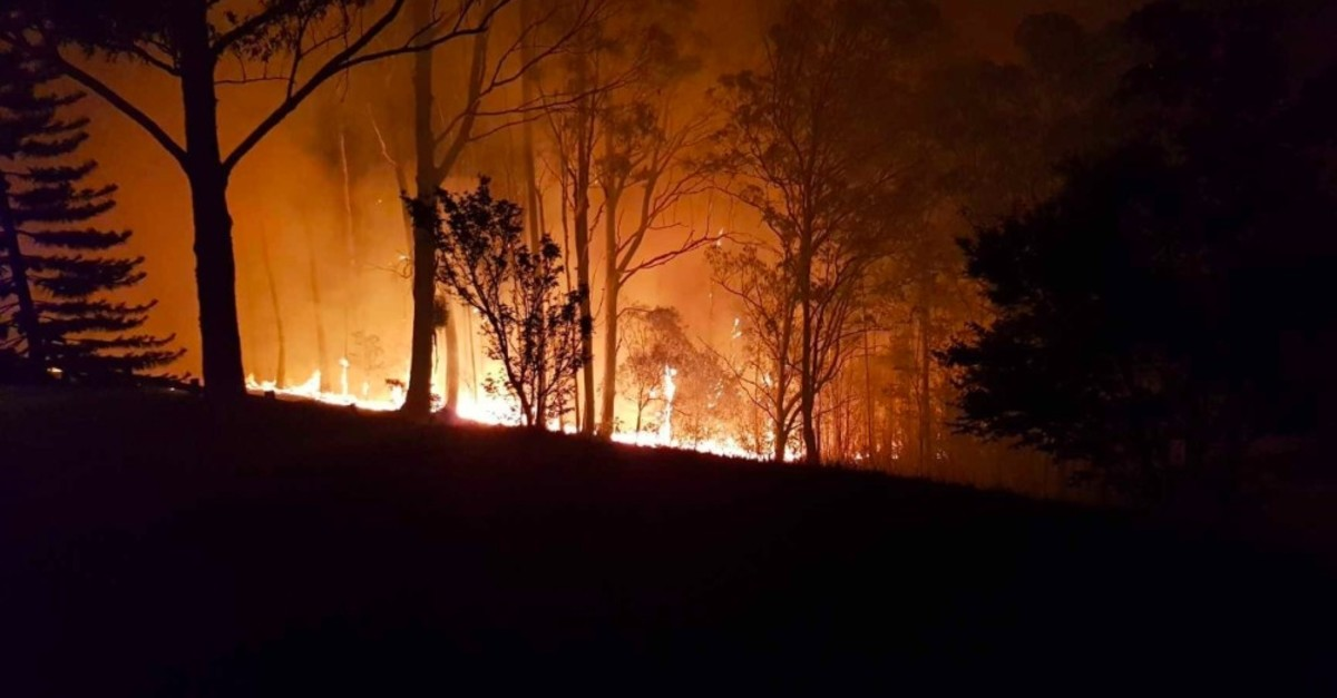 An image of bush fires spreading across the rural property of Russel Crowe was shared on the actor's Twitter account on Nov 13, 2019.