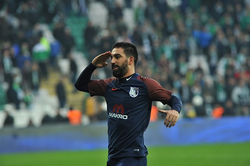 Medipol Bau015faku015fehir midfielder Arda Turan celebrates his first goal for the club during his team's fixture against Bursaspor at Timsah Arena in Bursa, Turkey, Jan. 21, 2018. (AA Photo)