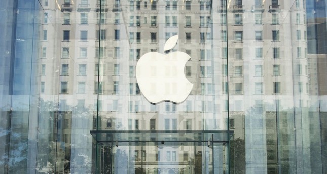 The Apple logo at the entrance to the Fifth Avenue Apple store in New York.