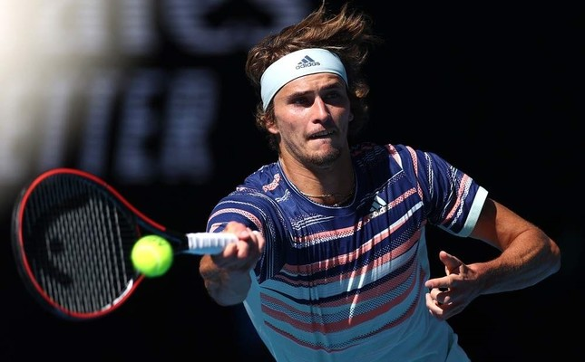 Zverev in action during his match against Switzerland's Stan Wawrinka at the Australian Open, Jan. 29, 2020. Reuters Photo